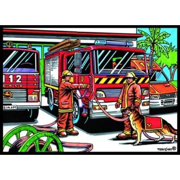 Tableau à colorier pompier