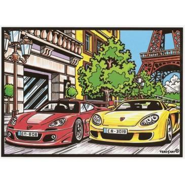 Tableau à colorier en reliefs velours voitures à Paris