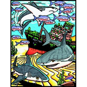Coloriage en velours requin