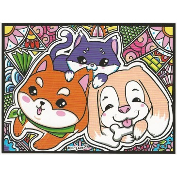 coloriage mandala chien et chat