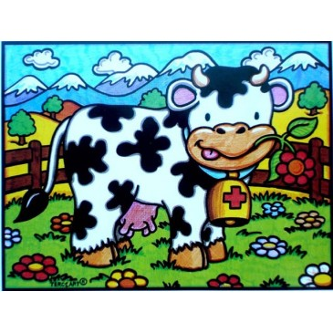 coloriage la vache amusante